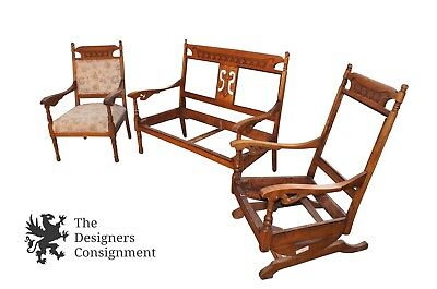 Antique 19th Century Aesthetic Arts Crafts Love Seat Chair Settee Parlor Set
