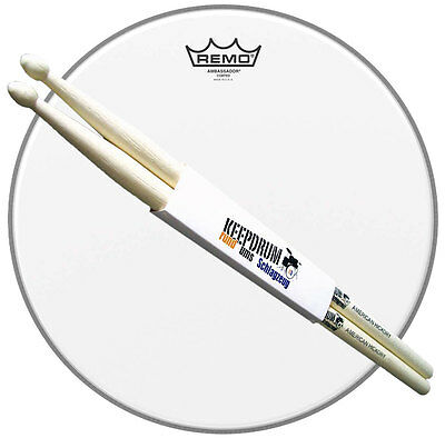 "REMO Ambassador Coated Snare Fell 14"" + keepdrum 5A Drumsticks 1 Paar"