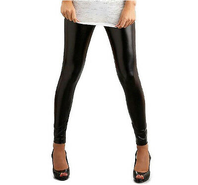 Bnwt Ladies Black Full Ankle Length Shiny Wet Look Leggings Tight Pants Uk Sizes