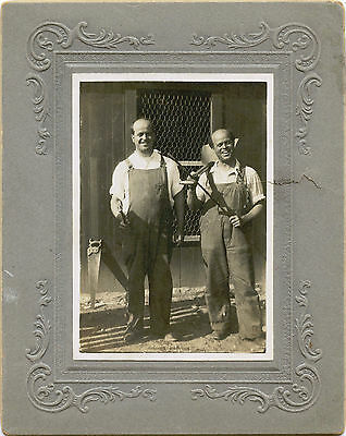 Portrait Of Two Smiling  Bald Men Workers With Tools Occupational Antique Photo
