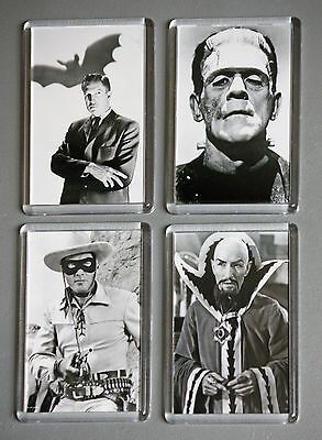 Film Actors from the era of Classic Cinema on Fridge Magnets, in Black &White