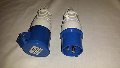 16 amp plug and trailing socket 3 pin IP44 rated, work sites camping parks etc