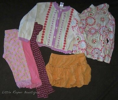 Gymboree 6 Piece Lot Outfits Set Size 4 Pink Orange Sweater Top Skirt Leggings