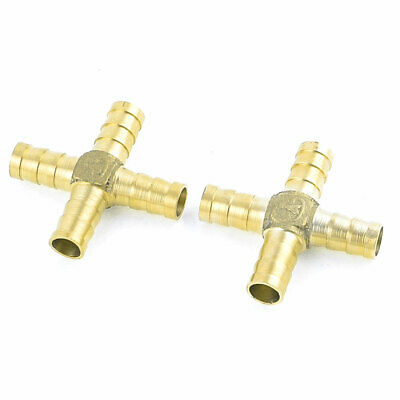 2 Pcs Brass 4 Way Cross Shape 10mm Hose Barb Connector Pipe Joint Fitting