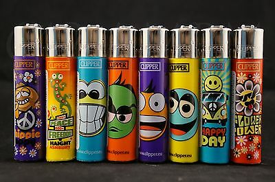 8 pcs New Refillable Clipper Full Size Lighters Mixed Designs