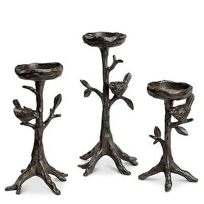 Bird & Twig Tree Branch Candleholders Rustic Elegance Tabletop Candle Decor Set