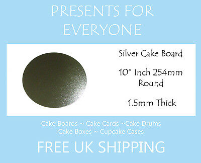 """100 x 10"""" Inch Round Silver Covered Cake Board FREE SHIPPING"""