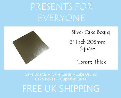"""100 x 8"""" Inch Square Silver Covered Cake Board FREE SHIPPING"""