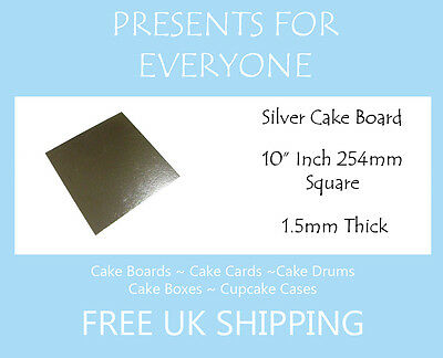 "10"" Inch Square Silver Covered Cake Board FREE SHIPPING"