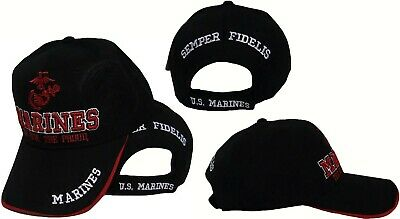 US MARINE Marines CORPS HAT BLACK RED USMC The Few The Proud CAP Shadow 95a9d8fb3620