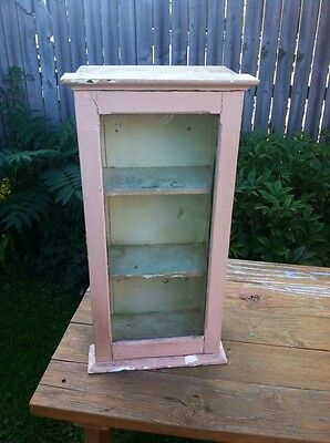 "Antique Primitive Medicine ""Display"" cabinet glass front PinK paint  shabby&NICE"