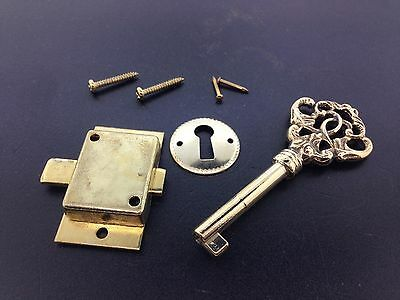 Fancy Brass Curio Cabinet Front Door key and Lock Set