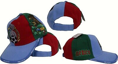 b9b16891c8d Blue Red Green Mexico Mexican Soccer style Cap Hat 3D embroidered