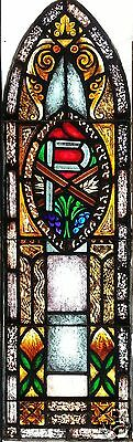 Antique Painted Stained Glass Gothic Window Religious X P Wheat Grapes Medallion