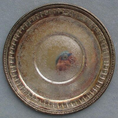 Reed & Barton Silver Silverplate Ornate Engraved Patter Round Serving Tray