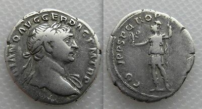 Ancient Collectable Silver Roman Trajan Denarius coin - Roma Victory & Spear