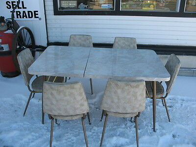 1950's Queen city Art Deco retro Vintage Dinette / Kitchen Table with 6 chairs