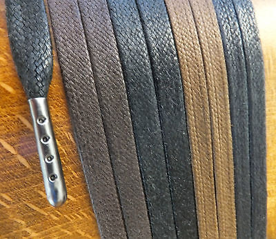 * Metal Tipped * FLAT WAXED COTTON SHOELACES - 40cm to 200cm - boot hiking laces