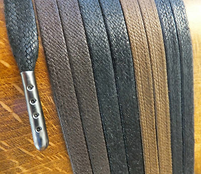 Metal Tipped Flat Waxed Cotton Shoelaces - 40cm to 200cm - boot hiking laces