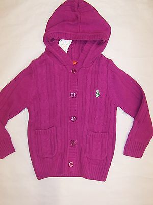 Bnwt Girls Thick Cotton Cardigan- Hot Pink And Purple  Size 2-7
