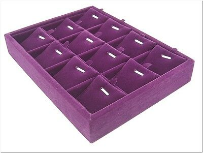 Purple 12 Pendant Charm Compartment Jewelry Display Tray Case