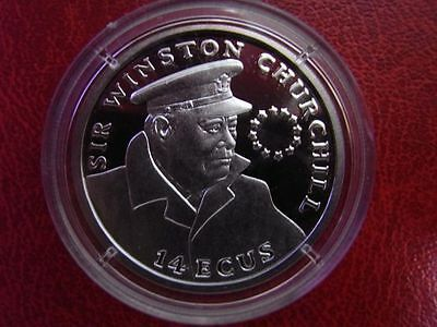 1993 Gibraltar Silver Proof 14 Ecu Winston Churchill