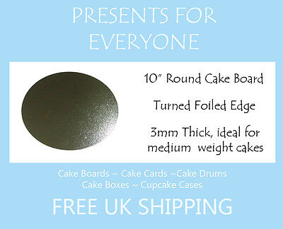 """50 x 10"""" Inch Round Silver Cake Board 3mm FREE SHIPPING"""