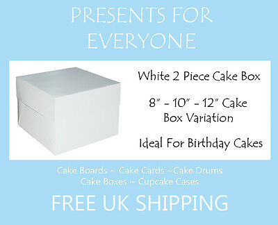 "White Cake Boxes 8 10 12"" Inch Wedding Birthday"