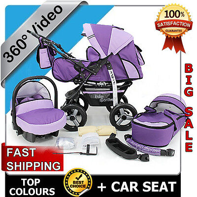 Baby Pram Child Stroller  - Car seat - Pushchair - Buggy Umbrella Footmuff