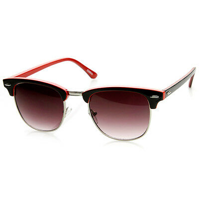 Two-Tone Colorful Classic Half Frame Horn Rimmed Sunglasses