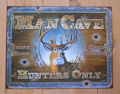 Man Cave Deer Buck Hunters Only Trophy Room Vintage Metal Tin Sign Made in USA