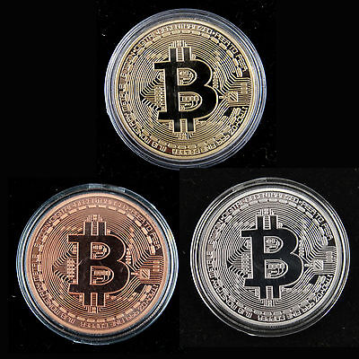 3 Pieces Physical Bitcoin, Clear Plastic Case