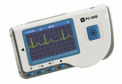 PC-80B HANDHELD ECG/EKG monitor COLOR SCREEN W/ BLUETOOTH REUSABLE LIMB CLAMPS