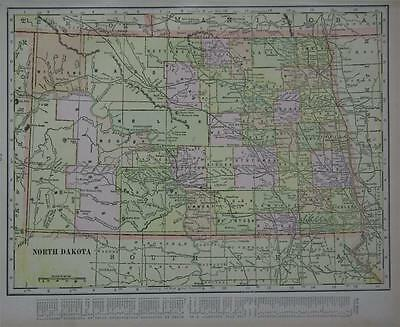 1901 North Dakota Original Color Atlas Map**  Indexed on Border ..113 years-Old!