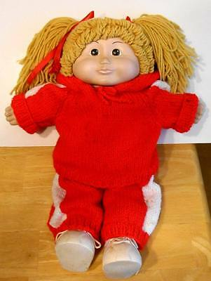 """Ceramic CABBAGE PATCH KID DOLL - Blonde Hair - Red Knit Workout 17"""""""