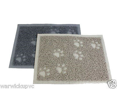 Paw Print Dog Cat litter Pet Mat 40 x 60cm or 40 x 30cm Wipe Feet Grey/Beige