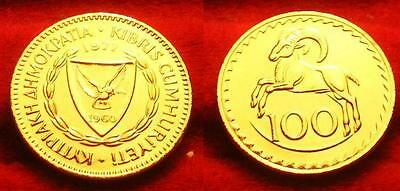 Chypre/cyprus         100    Mils     1960  Or/gold Pl 999% 24 K  Rare