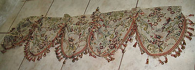 Beautiful French Antique Tapestry Scalloped Valance