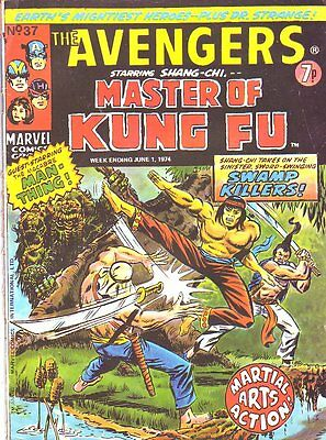 The Avengers #37_Marvel Comic_Kung Fu_UK Variant_Gulacy_1974_Bronze Age_GD 3.0
