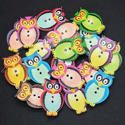 30pcs Mixed 2 Holes Owl Wooden Buttons Fit Sewing and Scrapbook 33x23.5mm