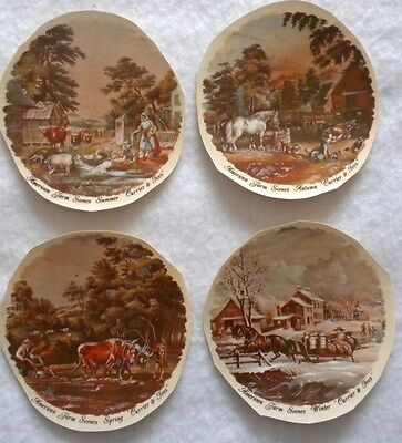 """4 Seasons Currier & Ives (1 of Ea.) Ceramic Water Slide Decals - NEW Approx. 3"""""""