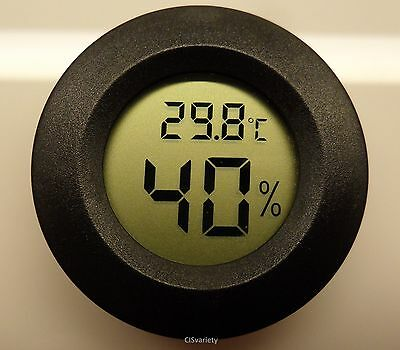 "Digital Cigar Humidor Hygrometer Thermometer 1 3/4"" Inch Round Black Face 001-C"