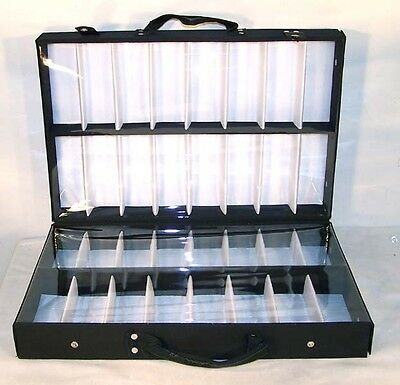 SUNGLASS BRIEFCASE COVERED DISPLAY CASE 32 pair eyewear sunglasses holder new