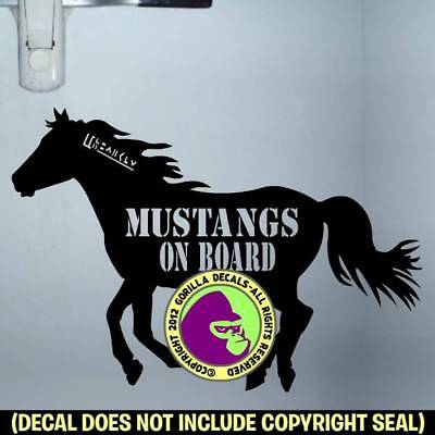 MUSTANGS ON BOARD Caution Mustang Horse Trailer Back Door Sign Decal Sticker BL