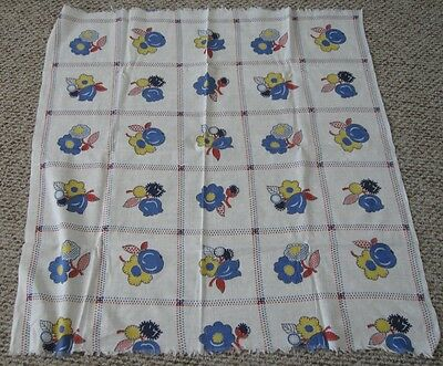 Vtg Feedsack Blocks with Flowers Green, Blue, Red, Yellow, Green 39x36