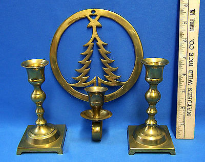 Lot 3 Brass Metal Candle Candlestick Holders Christmas Pine Tree Wall Hanging