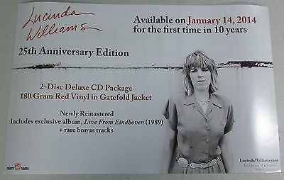 "Lucinda Williams - 25th Anniversary Edition * 2 Sided Promo Poster * 11"" x 17"""