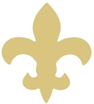 """Fleur De Lis Wood/Wooden Unpainted Smooth MDF Cut Out  15"""" USA MADE"""