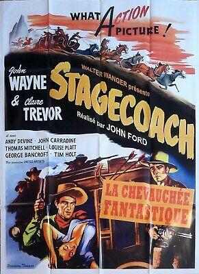 Stagecoach - John Ford / John Wayne - Horse - Reissue Large French Movie Poster