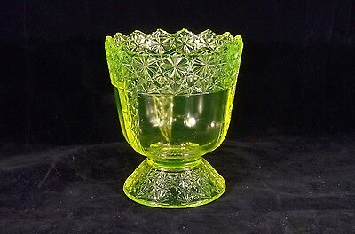 Ca. 1894 McKee Glass QUEEN / PANELED DAISY & BUTTON SUGAR BASE CANARY VASELINE
